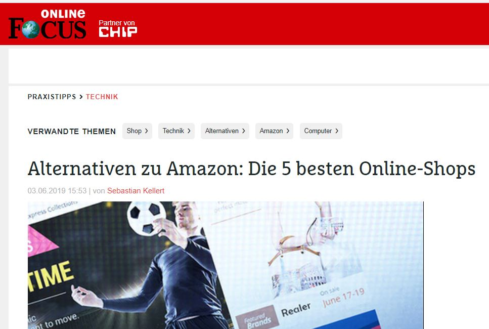 "Kivanta im FOCUS: ""Alternativen zu Amazon: Die 5 besten Online-Shops"""